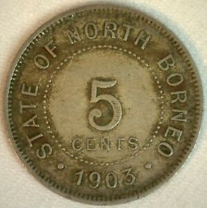 1903 H British North Borneo Copper Nickel 5 Cents Coin You Grade Circulated