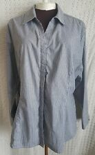 Riders by Lee Easy Care Women's XXL Blouse Top Gray White Striped Long Sleeve