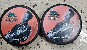 Two Vintage Elvis Presley Memphis RiverKings Hockey Puck CHL Minor League