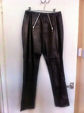 Skinny black leather double zip front trousers 8 10 clubbing fetish goth BNWOT