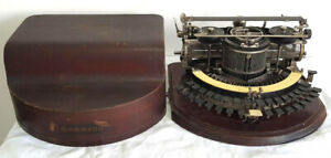 Antique Hammond 12 Circular Typewriter With Original Wood Case Serial # 91122