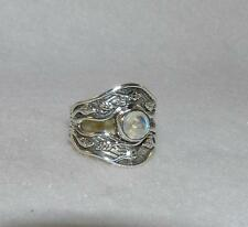 Faceted Cabochon Rainbow Moonstone Designer Ring Sterling Silver Size 6
