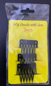 3 x Hair Wig Black Plastic Combs Clips Slides For Wig /Combs For Making Wig