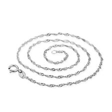 925 Sterling Silver Water Wave Chain Necklace 18 Inches Woman's Choker Jewelry