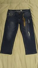 Jeans Denim Butterfly Embossed Cropped Jeans, Sz 8 Distressed 5 Pocket New NWT