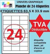 UGT01 Planche de 24 étiquettes format 63.5 x 33.9 mm compatible avec  L7159