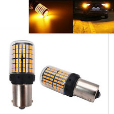 2x No Flash BA15S 1156 P21W 144SMD Amber LED Turn Signal Lights Indicator Bulbs