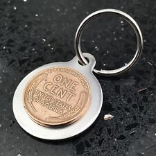 Stainless Steel Key Chain w/ Vintage Wheat Penny 1 Cent B09