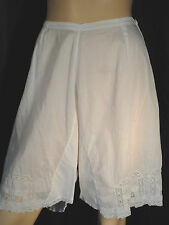Vintage white Bloomer slip Cotton knickers M inset lace Edwardian old Victorian