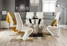 FLORINI 'V' Chrome Black Glass Dining Table Set and 4 6 Leather Chairs Seater