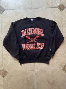 VTG Champion Baltimore Orioles Black Pullover Sweater Size Large 90s