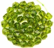 10mm Cut Rhombic Green Peridot Quartz Faceted Gemstone Beads 15''