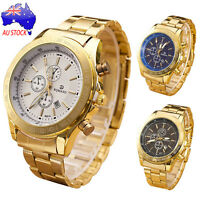 Men's Luxury Stainless Steel Band Watch Casual Analog Quartz Gold Wrist Watches