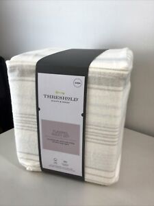 Threshold Gray Stripe on Ivory Queen Sheet Set Soft Brushed Cotton Flannel