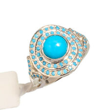 AMERICAN BLUE TURQUOISE  GEMSTONE 925 STERLING SILVER HANDMADE JEWELRY RING 7