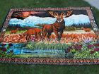 """Vtg Huge VELVET TAPESTRY Stag Bull ELK Wall HangingDecor/ RUG 72x48"""""""