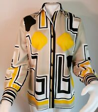 Vtg Psychedelic Op Art Shirt Yellow Dagger Collar Mod 60s Womens 12 Groovy Top