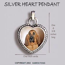 Bloodhound Dog - Ornate Heart Pendant Tibetan Silver