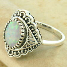 ANTIQUE STYLE VICTORIAN 925 STERLING SILVER CABOCHON LAB OPAL RING SIZE 8, #1110