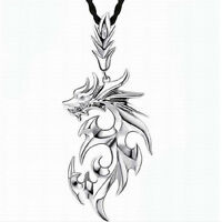 Vintage Men's Silver Stainless Steel Dragon Pendant Leather Chain Necklace Gift