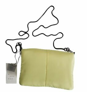 A New Day YELLOW PUFFER CLUTCH BAG Magnetic Closure Detachable Cross body Strap