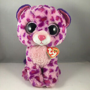 CT* TY Beanie Boos GLAMOUR Pink Leopard (Medium Size 9 inch) CREASED HEART TAGS