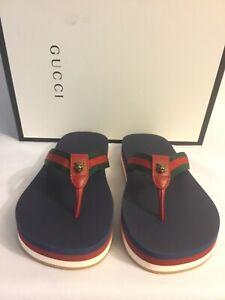 NWB Gucci Mens Lion Web Thong Sandals Gucci EUR 9 / US 10 Nylon