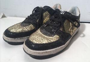 RARE Bapesta Fs-001 Low Bape Bathing Ape Shoes Gold Black sz 12 Glitter