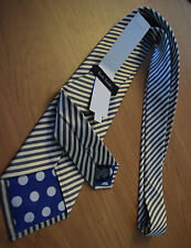 """Paul Smith GOLD TIE """"MAINLINE"""" Gold & Grey Stripe 9cm Tie Made in Italy"""