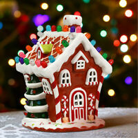 Ceramic Village House Hand-Painted Decor Christmas 44 Multicolored Lights