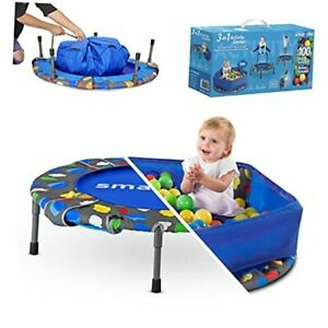 Toddler Trampoline with Handle Ages 1-5 Years, Trampoline & Ball Pit Blue