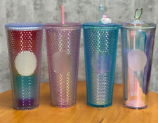 Starbucks Tumbler Gold Bling Diamond studded Blue Red Aurora Gradient Blue Cup