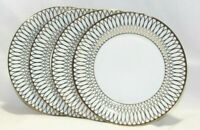 "Ciroa Luxe Metallic Gold Linked Ovals 10 1/2"" Dinner Plates Set of Four New"