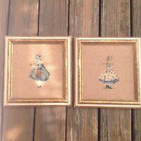 Vintage Embroidery Needlework Handmade Antique Wood Framed Ladies In Waiting 40s