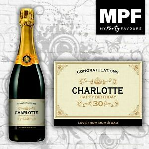 Personalised Champagne/Prosecco Bottle Label - Birthday Gift - Any Age (Gold)