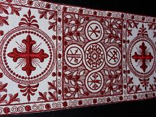 "Vestment Orphreys French Cross Design Banding Red on Off White 6"" Sold by Yard"