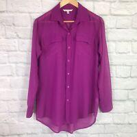 Cabi Women's XS Blouse Sheer Button Front Top Purple Long Sleeve