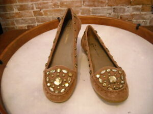 B. Makowsky Lynn Brown Suede Jeweled Moccasin Loafer Flats New