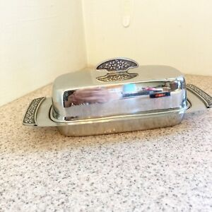 vintage mid century modern butter dish silver metal Stainless Steel