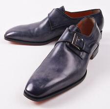 NIB $960 SANTONI Fatte a Mano Antique Slate Blue Monk Strap US 10 D Dress Shoes