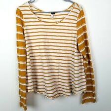 We the Free Mustard Striped Long Sleeve Knit Shirt Size Large