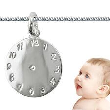Baby Taufe Kinder Geburts- Taufuhr mit Name Datum Uhrzeit Gravur + Kette Silber