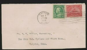 Scott R164, 2c Battleship Documentary stamp illegal use 1934 cover with 1c Green