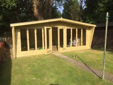 24x10ft Wooden Summerhouse Garden Sheds Finished 19mm T&G with 2ft Canopy Deluxe