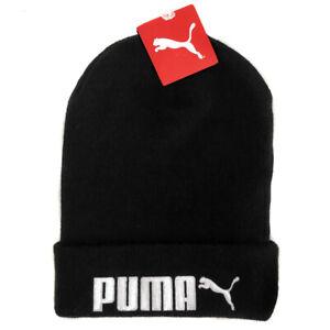 PUMA Black Longer Length Beanie Bobble Hat Cap Mens Adults One Size