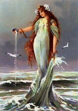 Sea Sprite Maiden Goddess Shell Sea Gull Art Card