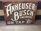 Vintage Anheuser Busch Beer Tin Metal Sign Fine Beers on Tap Classic Bar