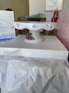AVON Celebration Pedestal Cake Plate Stand 2005 Presidents Club Birthday Flowers