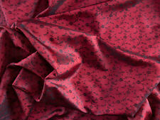 """Iridescent Shot Silk Fabric in Red with Black Woven Floral Design 44"""" Wide 1 Yd"""