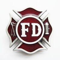 Firefighter Dept. Red FD Belt Buckle